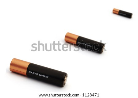 three battery in different depth of field - stock photo