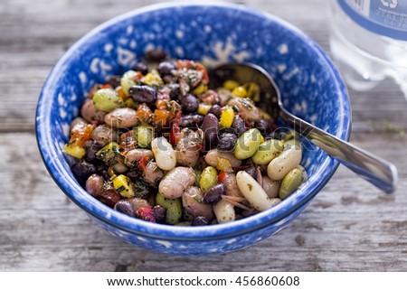 Three beans salad  - stock photo
