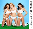 Three beautiful athletic sporty women in lingerie posing on their knees holding a soccer ball with alluring inviting looks on a green and blue background, - stock photo