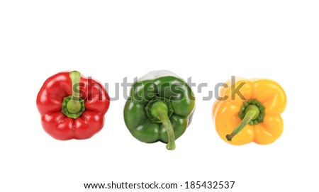 Three beautiful bell peppers. Isolated on a white background.