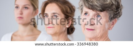 Three beautiful family women and passing time - stock photo