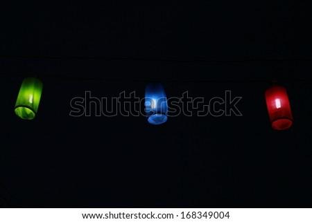 Three beautiful lanterns. - stock photo