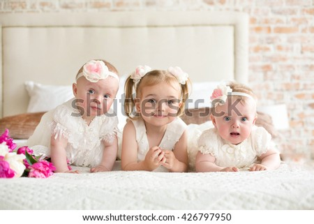 three beautiful sisters - stock photo