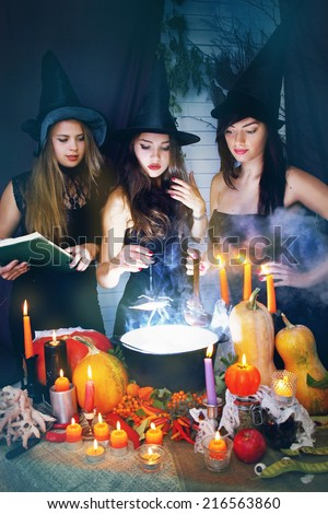 Three beautiful witches brew the potion in the boiler - stock photo