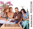 Three Beautiful Women and man Friends Using Smart Phone - stock photo