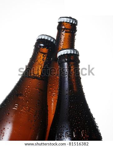Three beer bottles - stock photo