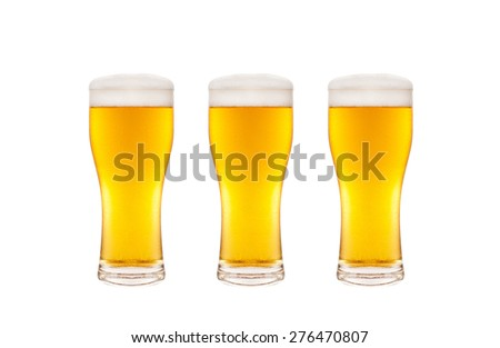 Three beer glasses isolated on white background