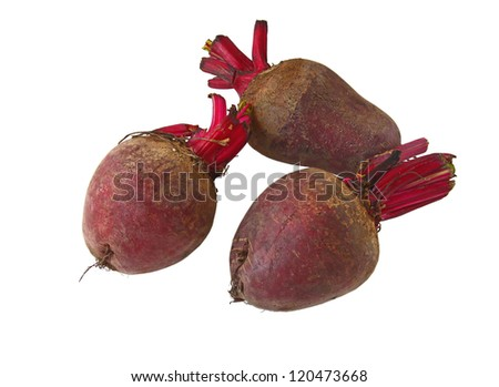 three beets on a white background are isolated