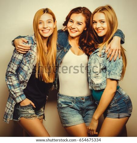 Three Girls Smiling Having Fun Stock Photo 367794596 ...
