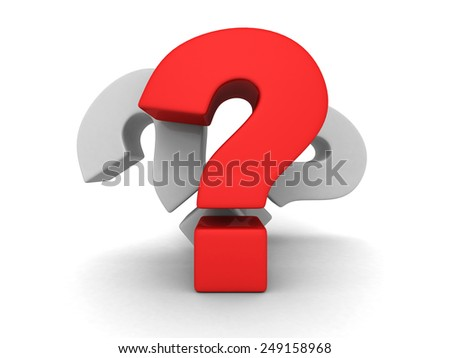 Three big question marks on white background. 3d render illustration - stock photo