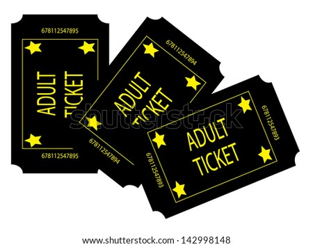 Three Black Adult Tickets - stock photo