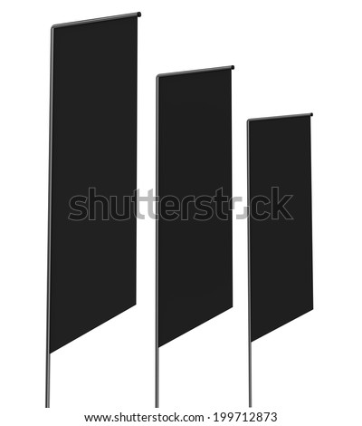 Three black blank flags or shelf-stoppers in perspective on white
