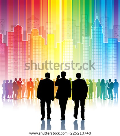 Three black businessmen going to meet a crowd of colorful people - stock photo