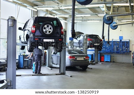 Three Black Cars Stand Small Service Stock Photo 138250919