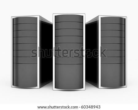 Three black servers - stock photo