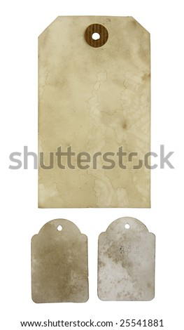 Three blank aged paper hang tags isolated - stock photo
