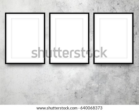 Three Blank Black Picture Frames On Stock Photo (Royalty Free ...
