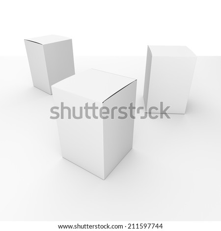 three blank box vertical products template - stock photo