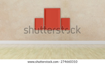 three blank frame on a grunge wall texture - stock photo