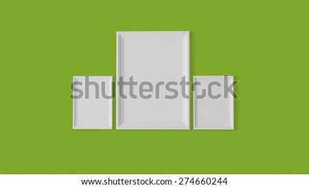 three blank frames on wave graphics wall - stock photo