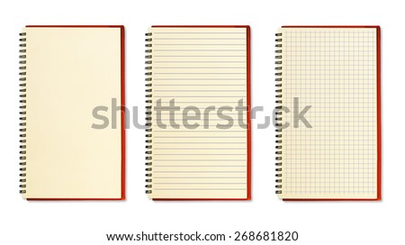 Three blank notebooks on white background.