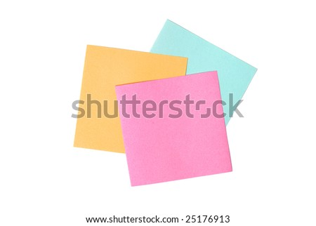 Three blank notes isolated on white background