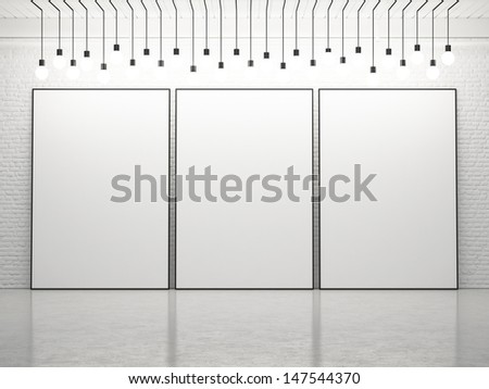three blank posters - stock photo