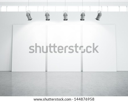 three blank posters in white room - stock photo