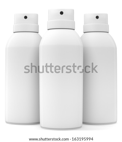Three blank spray cans isolated on white background. 3d illustration - stock photo