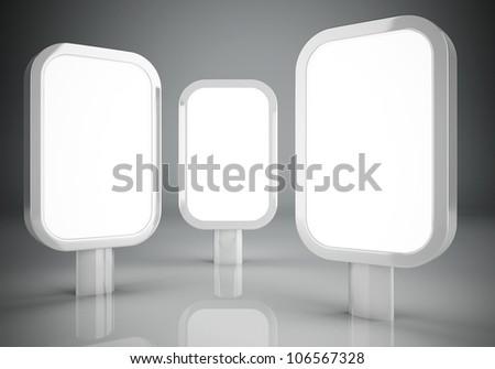 Three blank vertical billboards design - stock photo