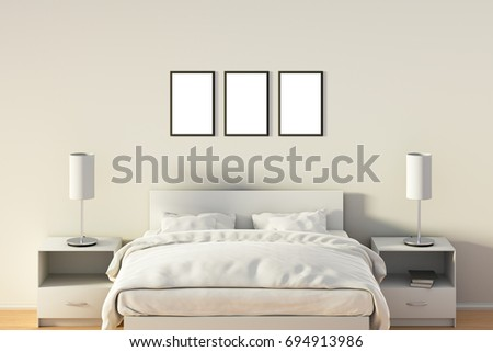 Three Blank Vertical Posters In Bedroom Over White Bed. Isolated With  Clipping Path Around Poster