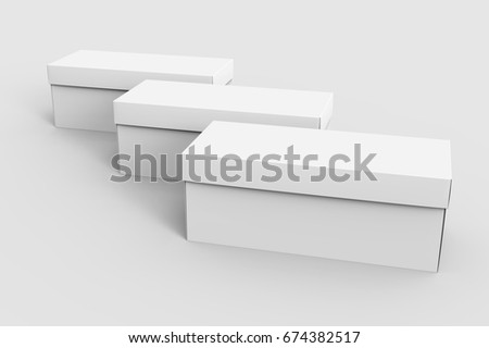 three blank white paper boxes for design in 3d rendering