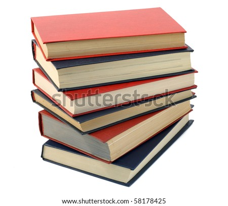 Three  blue and three red old retro  books isolated on white.