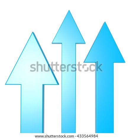 Three blue arrows isolated on a white background. 3d illustration