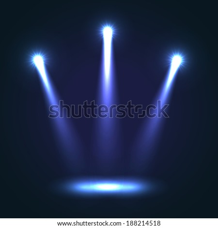 Three blue bright projectors for scene lighting decoration on black background. Special light effects - stock photo