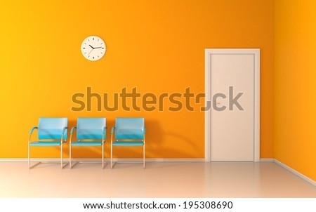Three blue chairs and wall clock in the waiting room - stock photo