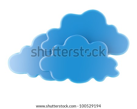 Three blue 3D cloud icons - stock photo