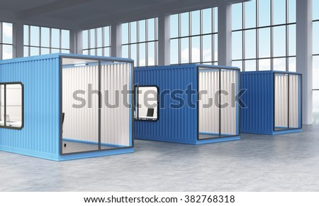 Three blue sea containers with offices inside. Panoramic window at the background. Side view. Concept of a new start. 3D rendering