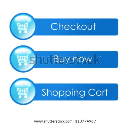 three blue shopping buttons isolated on white