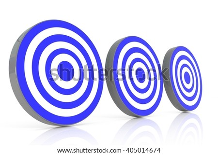 three blue target, 3d illustration - stock photo