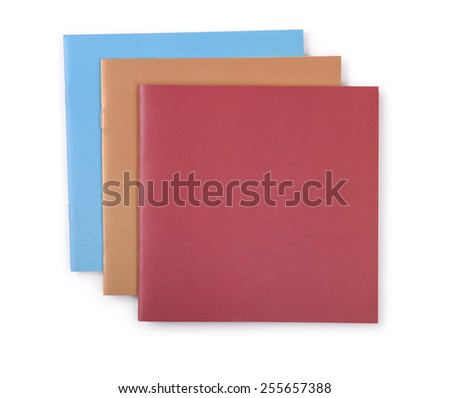 Three  booklets isolated on white - stock photo