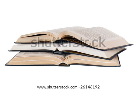 three books isolated on white