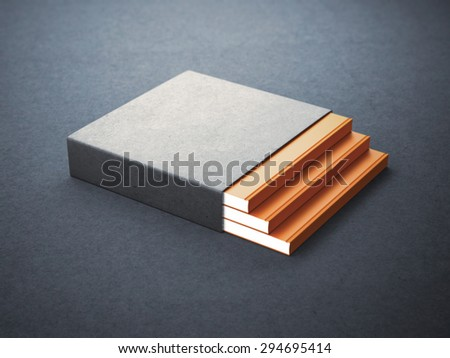 Three books with blank box cover - stock photo