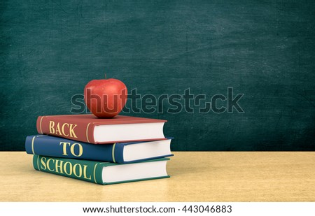 three books with text: back to school and a red apple, chalkboard on background with empty space (3d render)