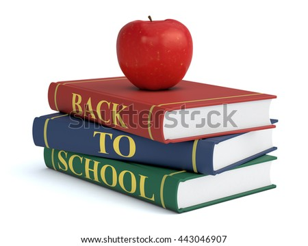 three books with text: back to school and a red apple, white background (3d render)