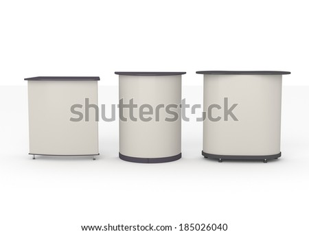Three booths or tribunes on white background. render  - stock photo