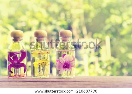 Three bottles of herbal essences with  beauty orchid on nature background ,vintage style - stock photo