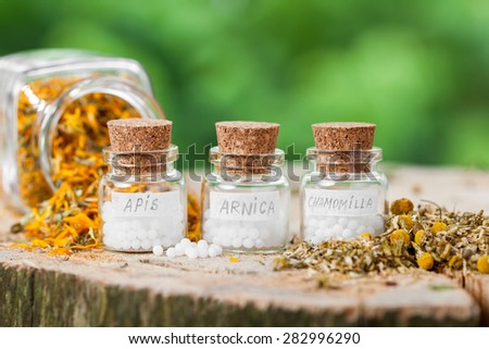 Three bottles of homeopathy globules and healthy herbs. - stock photo
