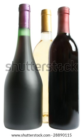 Three bottles with a wine on a white background.