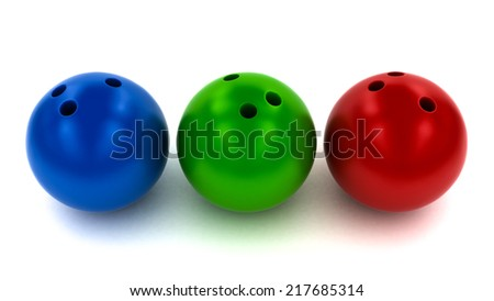 Three Bowling Balls - Blue, Green and Red isolated on White Background - stock photo